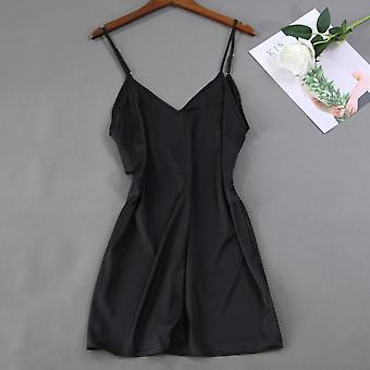 Women Satin Lace Burgundy Intimate Sleepwear Set Nightgown Sexy Lady New Robe