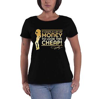 Dolly Parton Lots Of Money Official Womens New Black Skinny Fit T Shirt