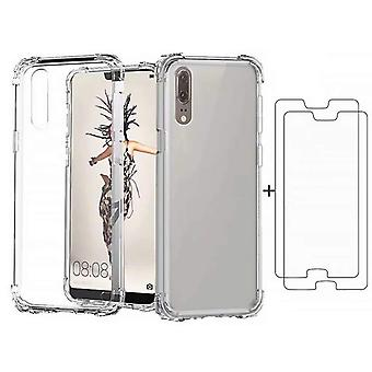 Huawei p20 pro case, dygg case soft tpu silicon transparent shockproof bumper with [2*tempered glass