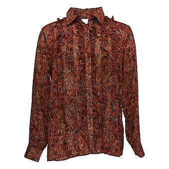 Joan Rivers Women's Top Long Slv Paisley Print Blouse Ruffles Red A309850