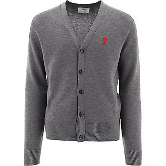 Ami E21hk305001055 Men's Grey Wool Cardigan