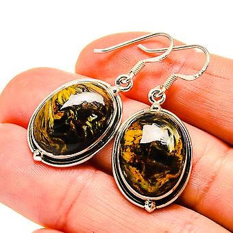 "Golden Pietersite Earrings 1 1/2"" (925 Sterling Silver)  - Handmade Boho Vintage Jewelry EARR411002"