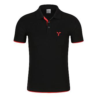 Men Knitted Polo Shirt, Contrast Color, Short Sleeve, Turn-down Neck Top
