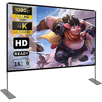 Projector Screen with Stand 100 inch 16:9 HD 4K Outdoor Indoor Projection Screen
