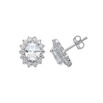 Jewelco London Ladies Rhodium Plated Sterling Silver Oval Cubic Zirconia Cluster Stud Boucles d'oreilles