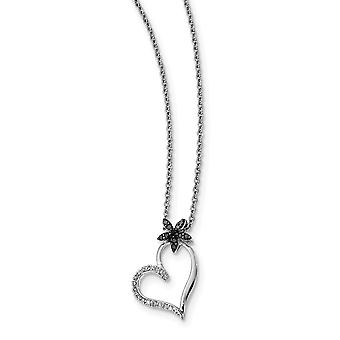 925 Sterling Silver Polished Prong set Open back Lobster Claw Closure Rhodium Plated Black and White Diamond Love Heart