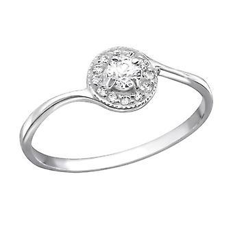 Zilveren trouw- of verlovingsring met kubieke zirkoon