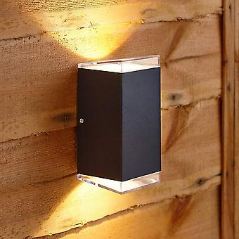 Modern Square Black Outdoor Wall Light Up Down Integrated LED IP54 Garden Door