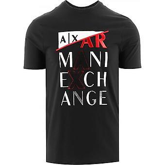 Armani Exchange Musta Regular Fit T-paita