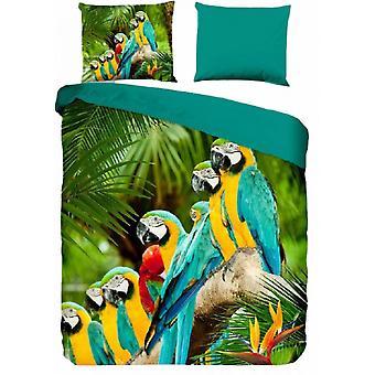 cover Parrots 135 x 200 cm microfiber green