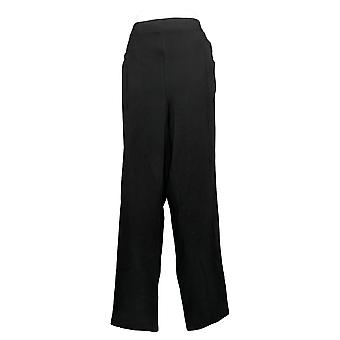Susan Graver Women's Pants Plus Cotton Spandex Slim Leg Black A384273