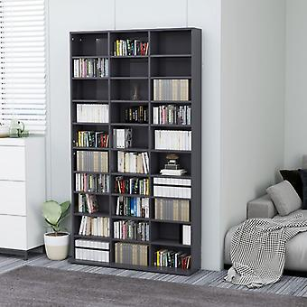 vidaXL CD shelf high gloss grey 102x23x177.5 cm chipboard