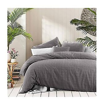 Amsons Fossil Cotton Quilt Cover Set Textured Print Grey