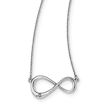 925 Sterling Silver Polished Lobster Claw Closure White Ice Diamond Infinity Symbol With 2inch Ext Necklace 16 Inch Jewe