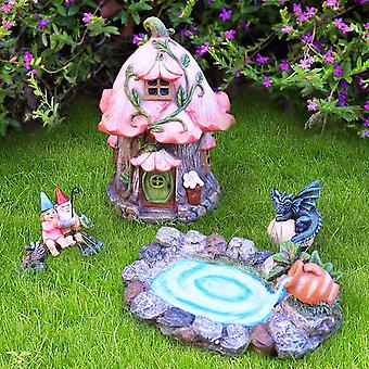 FengChun La Jole Muse Figuren Set aus 4, Feengarten aus Harz- Miniatur Baumstumpf, Feen-Haus,