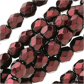 Czech Fire Polished Glass Beads 4mm Round Full Pearlized Coat - Granate (50)
