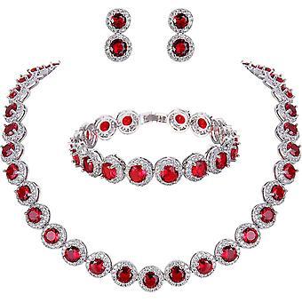 FengChun silberfarbene Tennis-Halskette mit Zirkonia, Set mit Armband und Ohrringen