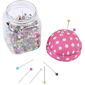 Wokex Stecknadeln / Quilting-Nadeln, verpackt, mit in rosa Stoff überzogenem Nadelkissen, Flasche,