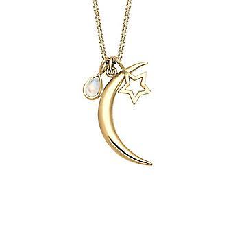 שרשרת נשים אלי בכסף 925 זהב מצופה אבן ירח, חצי ירח וכוכב