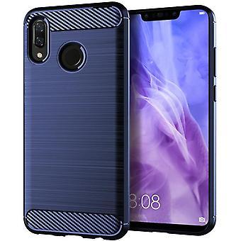 Tpu carbon fibre case for huawei nova 3e blue mfkj-528