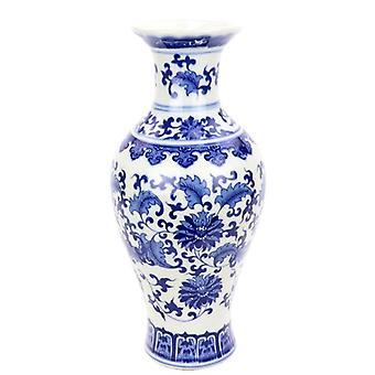 blå og hvit keramisk spesiell blomst design vase