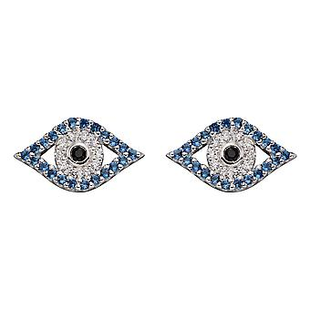 Begin 925 Sterling Silver Womens Blue and Clear Cubic Zirconia Protection Charm Evil Eye Stud Oorbellen