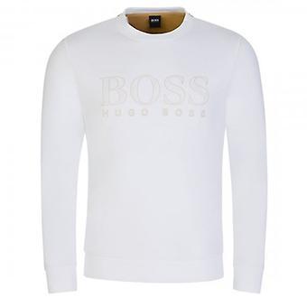 Boss Green Hugo Boss Salbo Iconic White 100 Crew Neck Logo Sweatshirt 50448186
