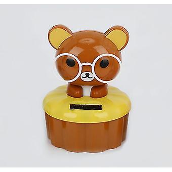 Brown panda cartoon solar ornament car decoration az768