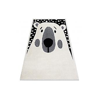 Modern children's rug  JOY Teddy bear, for children - structural two levels of fleece cream / black