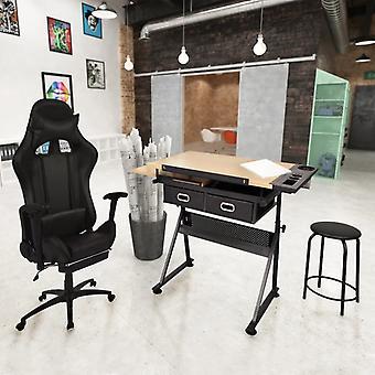 vidaXL Tiltable pöytä piirustuspöytä toimistotuolilla