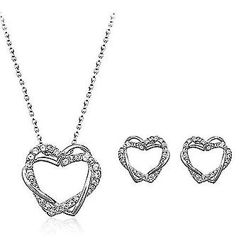 Beloved Hearts Necklace Earrings Set(Silver)