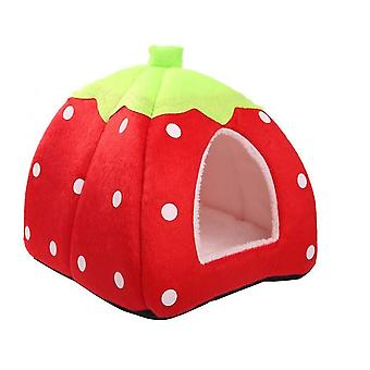 Small Animal Winter House Multifunctional Warm Bed With Removable Mat(Red)