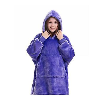 Blanket Pullover Children Can Wear Hooded Blanket Pockets(Purple)