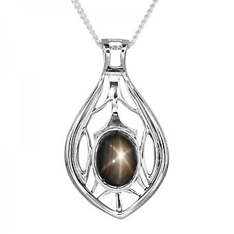 Shipton and Co Ladies Shipton And Co Exclusive Silver Oval Black Star Sapphire Pendant Including A 16 Silver Chain PQA413AS