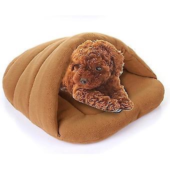 Slipper Shape Polar Fleece Warm Thicken Pet Dogs Cats House Size: M, 48×58×26cm(Coffee)