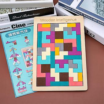 Children's Colored Wooden Tetris Puzzle, Intellectual Learning Puzzle Game-a