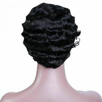 Short Black Afro Curly Hair Wigs Pexie Cut Wave Wig For Black Women Lady