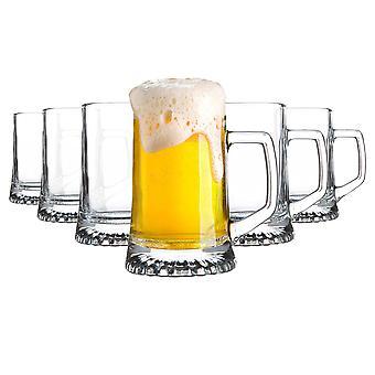 6x Stern Tankard Glass Beer Mugs Classic German Style Pale Ale Stein Tankard 510ml