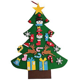 95cm Length DIY Felt Christmas Tree Set with Ornaments for Kids Xmas Decorations Xmas Gifts