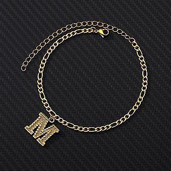 Gold Stainless Steel Letter Anklet