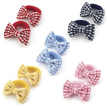 5.5cm Gingham Design Bow Hair Ponio Various Colours