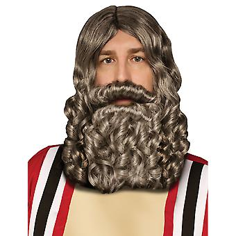 Biblical Jesus Moses Grey Men Costume Wig Beard Set