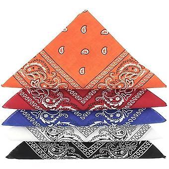 Lot De 5 Bandanas De Qualite Superieure En 100% Coton Orange Rouge Bleu Blanc Noir