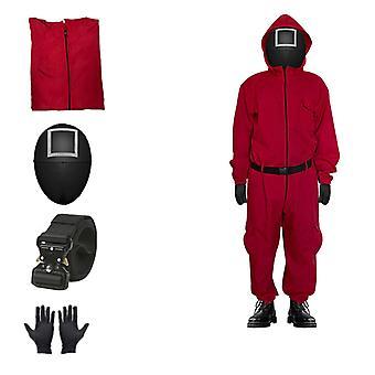 Unisex Squid Game Kombinezon Kostium Cosplay Zamek błyskawiczny Całe ciało Jednoczęściowy garnitur z rękawiczkami Maska pasowa
