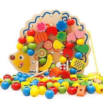 Qian 82 Pcs Animal Learning Puzzle Juguetes Erizo Fruta Cuentas Juego Juguete Educativo Para Niños|bloques