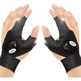 Outdoor vishandschoenen, 2 Led Fakkel handschoenen, Vingerloze Nachtverlichting