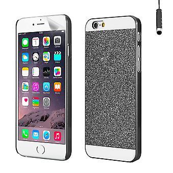 Glitzer Case Cover für Apple iPhone 6 Plus (5,5 Zoll) - schwarz
