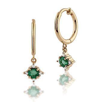 Klassische Runde Smaragd & Diamant Creolen in 9ct Gelbgold 135E1215019