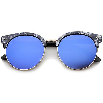 Womens Half-Frame Marble Finish Moon Cut Color Mirrored Lens Round Sunglasses