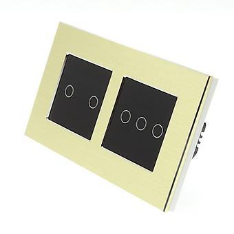 I LumoS Gold Brushed Aluminium Double Frame 5 Gang 1 Way Touch LED Light Switch Black Insert
